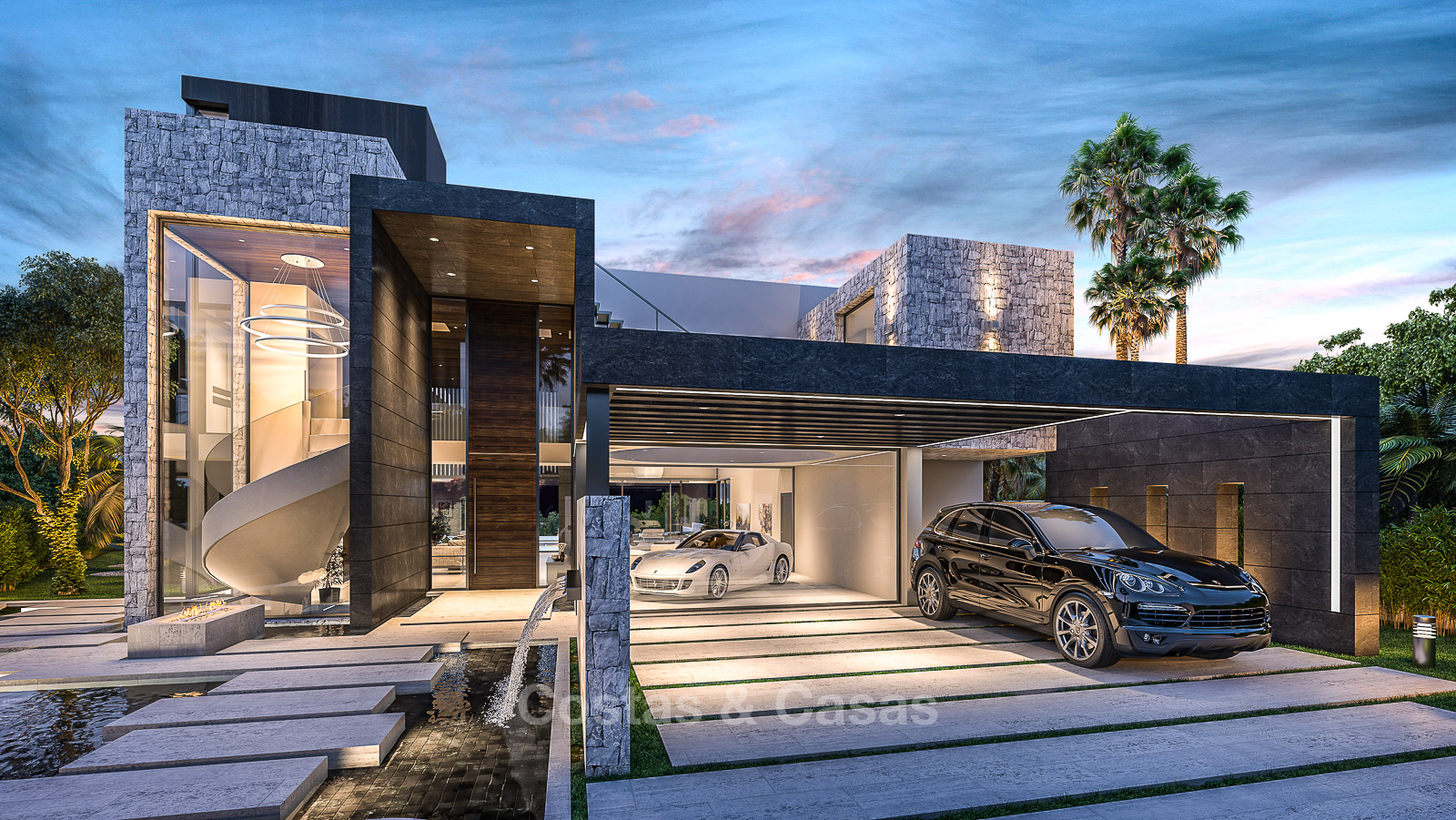 Luxury modern villa for sale located on a golf course with